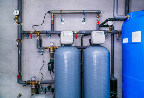 A water treatment system installed in a commercial property